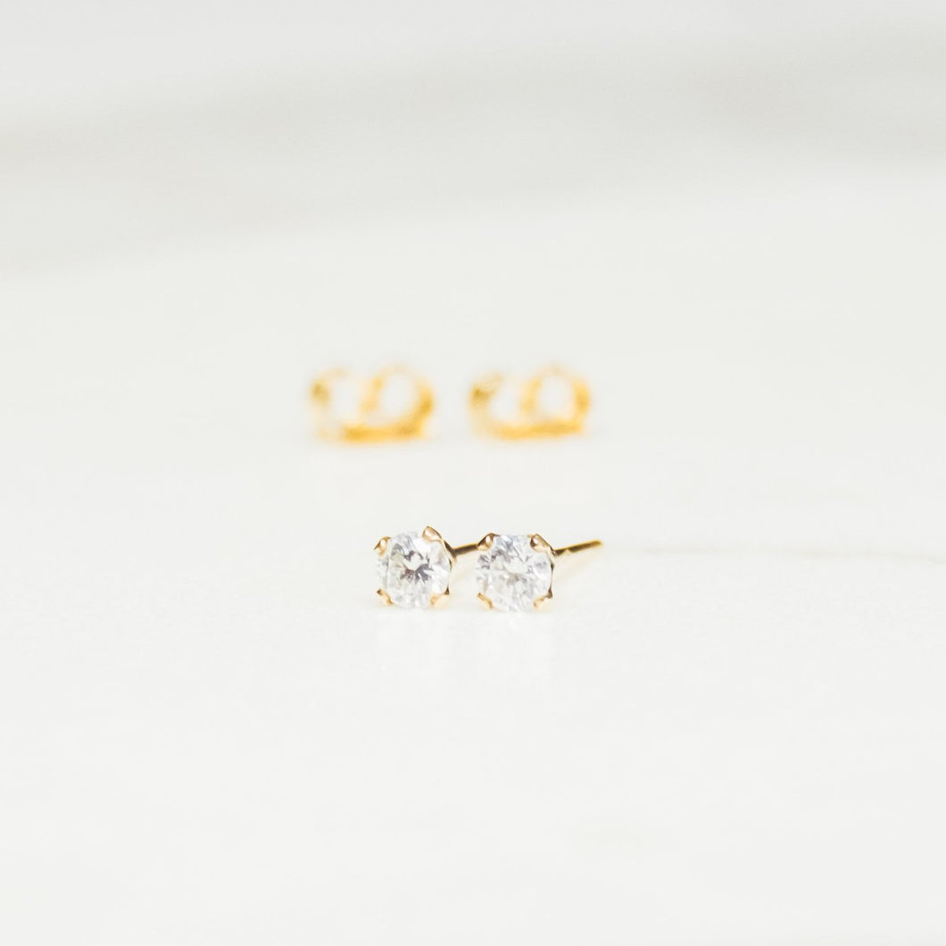 14kt gold filled clear cz stud earrings