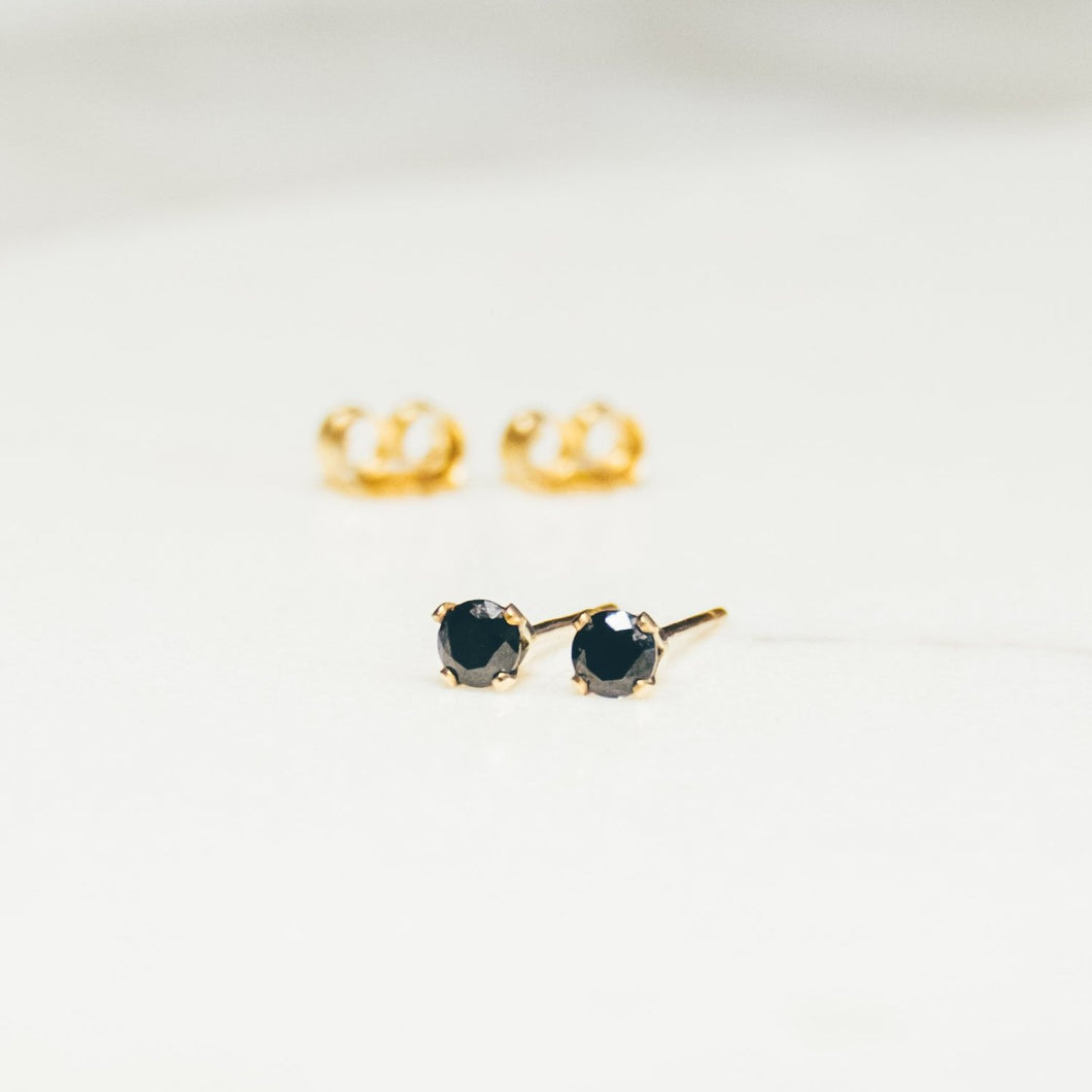 14kt gold filled black spinel stud earrings