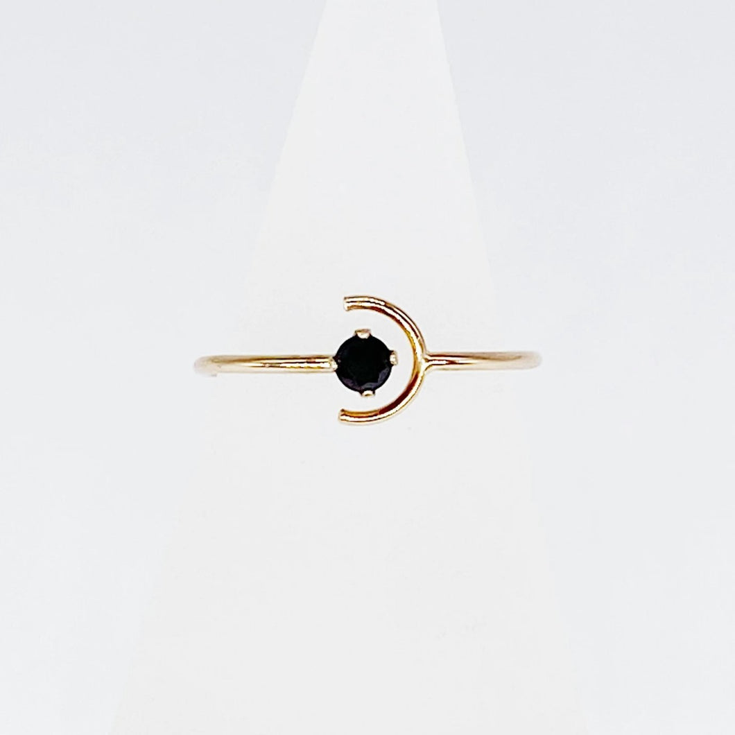 Black Night + Day Ring | 14kt Gold Filled 3mm Black Spinel + Crescent Ring