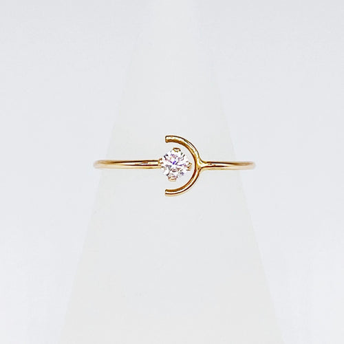 Night + Day Ring | 14kt Gold Filled 3mm CZ + Crescent Ring