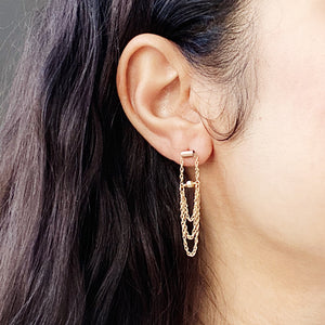 Tassel Earrings | 14kt Gold Filled Bead + Fringe Dangle Earrings