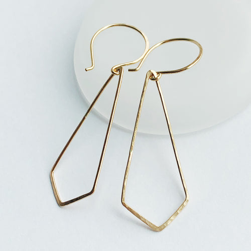 Deltoid Earrings | 14kt Gold Filled Hammered Deltoid Kite Shaped Earrings