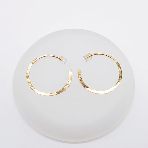 Mini Circle Glide Hoops | 14kt Gold Filled Hammered Round Hoop Earrings
