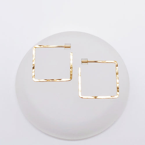 Mini Square Glide Hoops | 14kt Gold Filled Hammered Square Hoop Earrings
