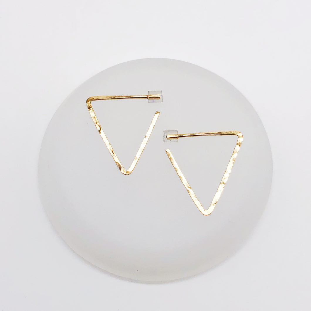 Mini Triangle Glide Hoops | 14kt Gold Filled Hammered Triangle Hoop Earrings