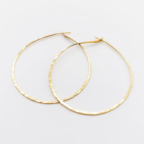 Two Inch Hoops | 14kt Gold Filled Hammered Hoop Earrings