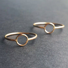 two 14kt gold filled circle rings