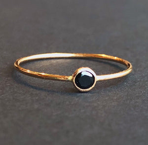 Stackable Black Solitaire Ring | 14kt Gold Filled 3mm Black Spinel Gemstone Stacking Ring