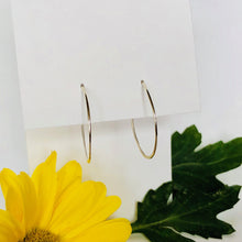 pair of two silver round hoop earrings on white earring card background, with dark green leaf and bright yellow flower in foreground