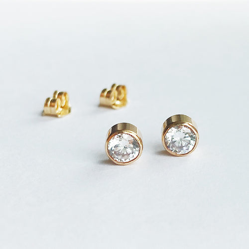 Classic Stud Earrings | 14kt Gold Filled 4mm CZ Studs