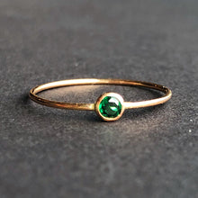 Stackable Emerald Solitaire Ring | 14kt Gold Filled 3mm Green Emerald Gemstone Stacking Ring
