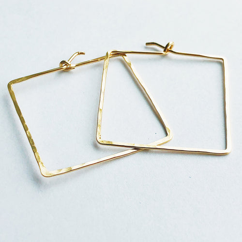 14kt gold filled square geometric diamond hoop earrings