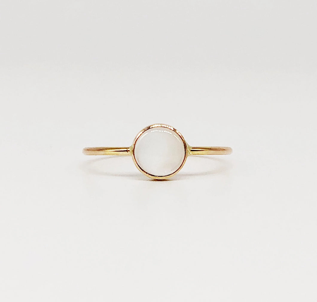 Luna Ring | 14kt Gold Filled 6mm White Mother of Pearl Ring