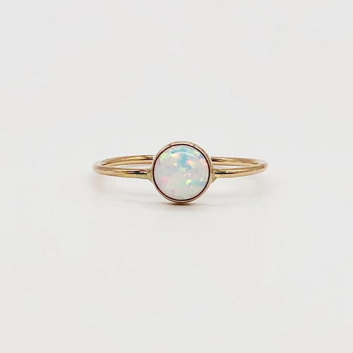 Shimmer Ring | 14kt Gold Filled 6mm Fiery White Opal Ring