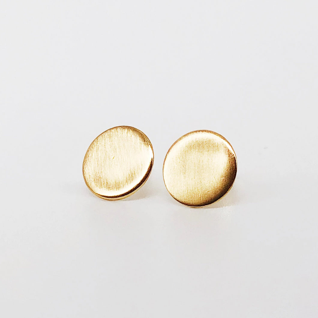 Gold Coin Studs | 14kt Gold Filled Matte Disc Centimeter Stud Earrings