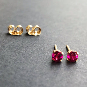 Ruby Studs | 14kt Gold FIlled 3mm Red Ruby Stud Earrings | 4-Prong Setting