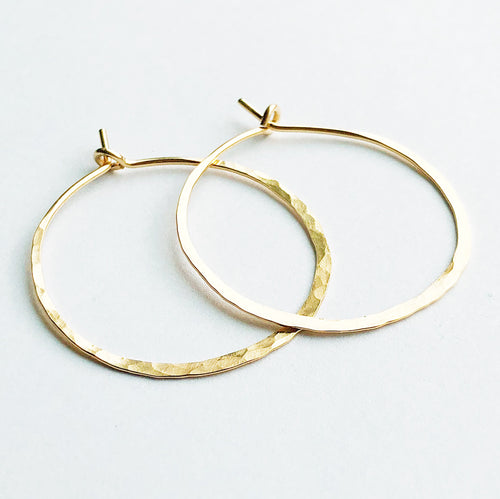 14kt gold filled hammered round hoop earrings