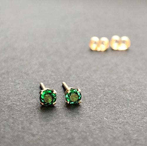 14kt gold filled four prong green emerald stud earrings with ear nuts