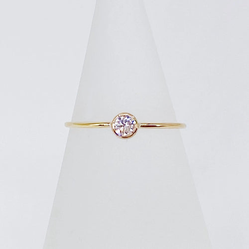 Stackable CZ Solitaire Ring | 14kt Gold Filled 3mm Clear CZ Gemstone Promise Ring