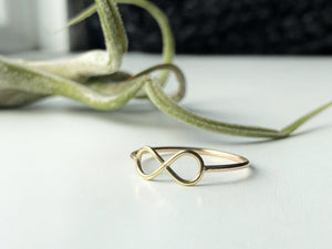 dainty delicate gold infinity ring on white background with green plant
