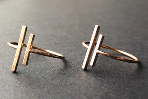 two 14kt gold filled matte vertical gap bar rings