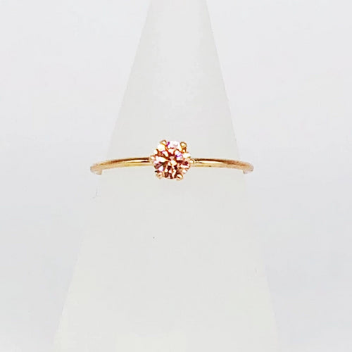 Morganite Engagement Ring | 14kt Gold Filled 4mm Pink CZ Gemstone | 6-Prong Setting