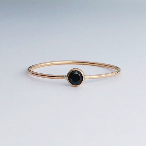 14kt gold filled black spinel gemstone solitaire stacking ring