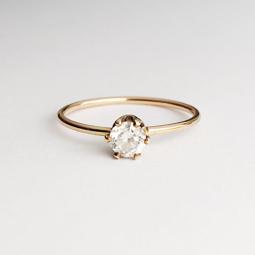 14kt gold filled minimalist engagement ring with clear cz stone on six prong setting