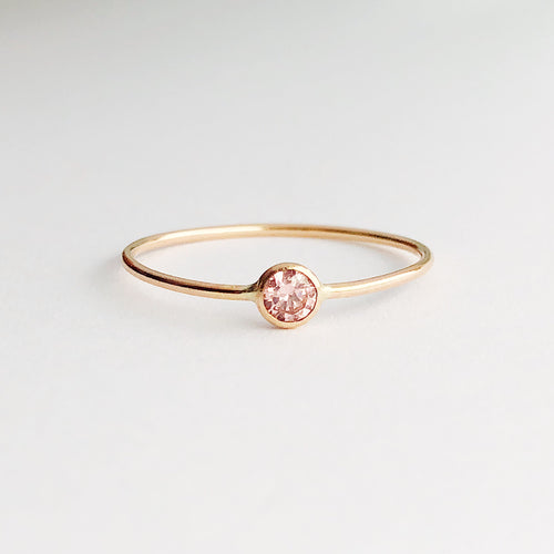 Stackable Morganite Solitaire Ring | 14kt Gold Filled 3mm Pink CZ Gemstone Promise Ring