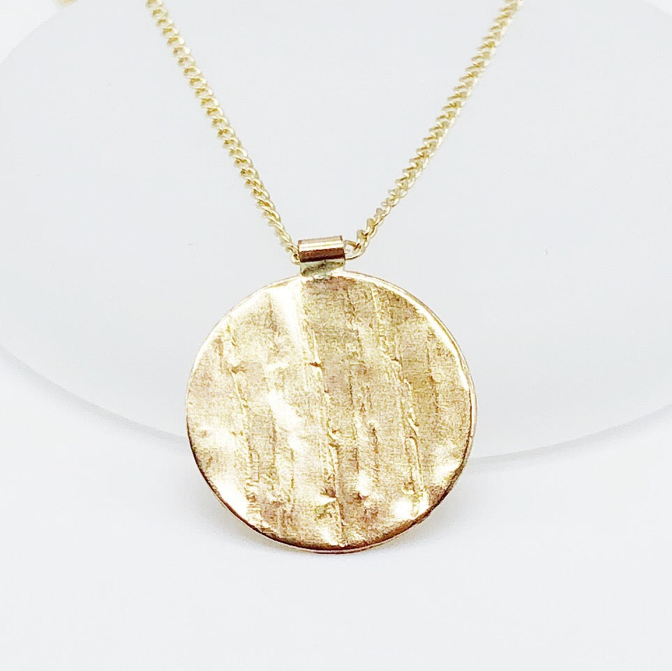Wooden Coin Medallion | 14kt Gold Filled Tree Bark Textured Pendant + Necklace