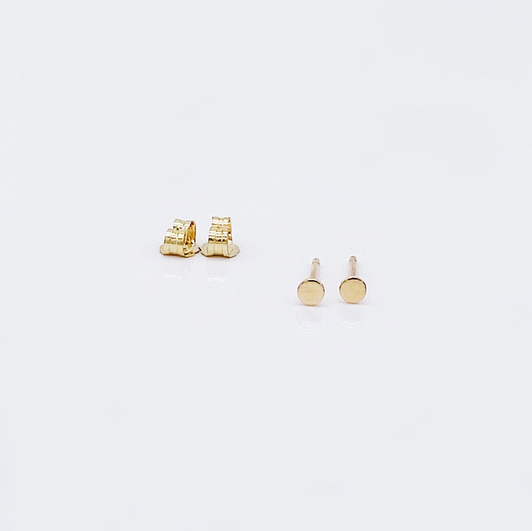 Heroine Studs | 14kt Gold Filled Matte Disc Military Studs