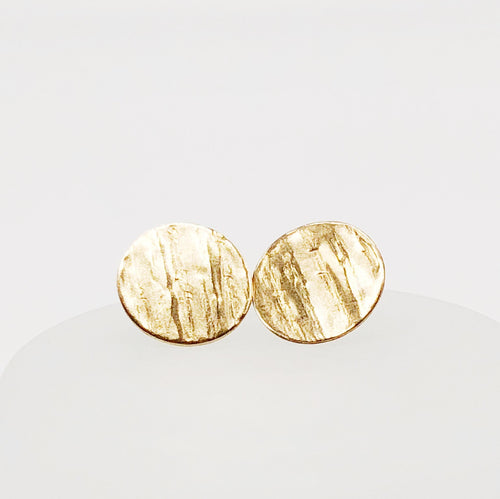 Wooden Coin Studs | 14kt Gold Filled Tree Bark Textured Earrings
