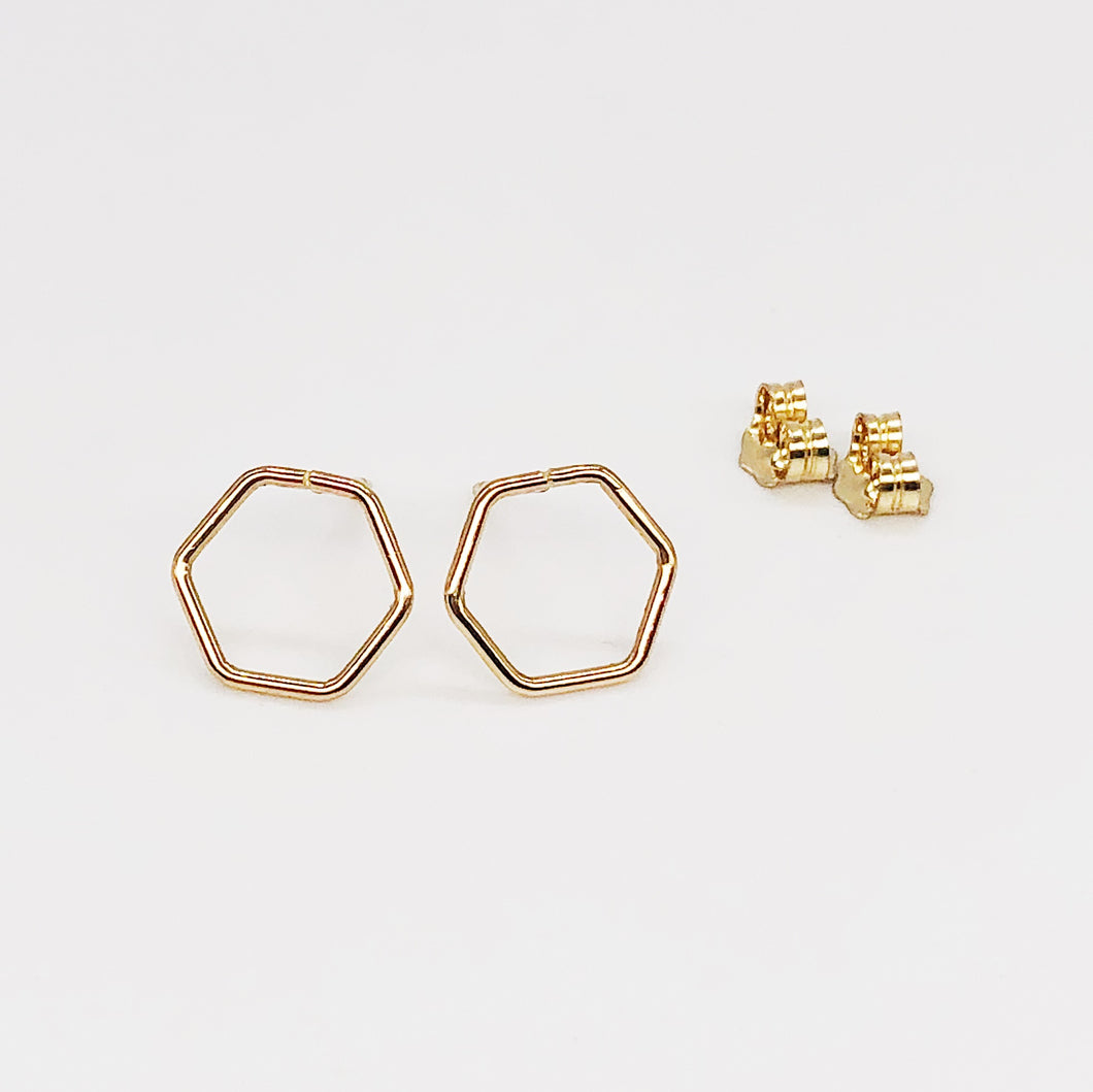 Hex Posts | 14kt Gold Filled Hexagonal Stud Earrings