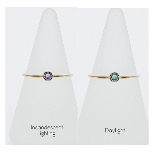 3mm Alexandrite Solitaire | 14kt Gold Filled Color Changing Stackable Ring