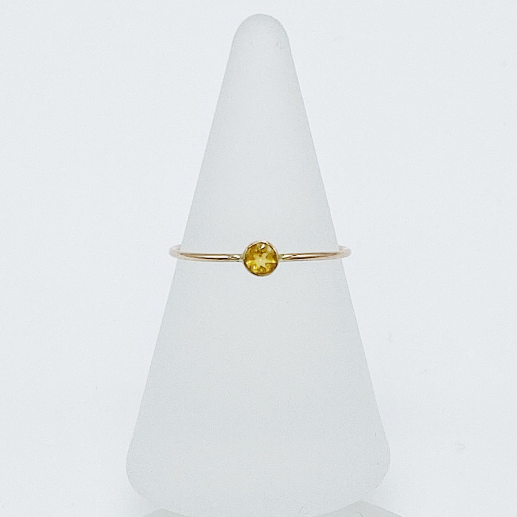 3mm Citrine Solitaire | 14kt Gold Filled Stackable Ring