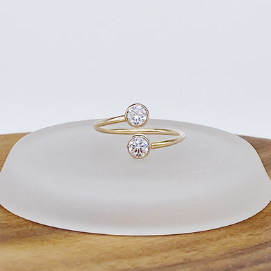 Gemini Ring | 14kt Gold Filled Double CZ Overlap Bypass Gap Ring