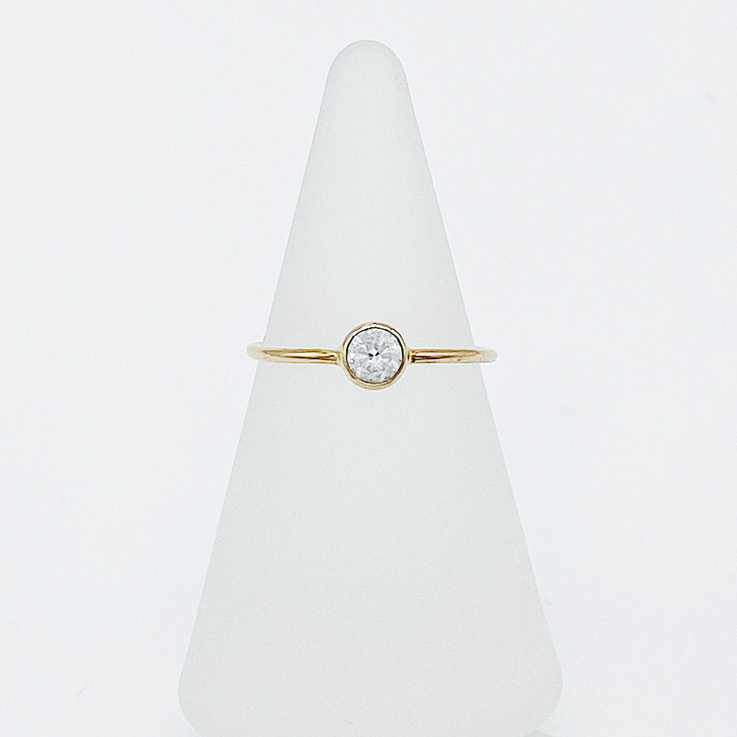 4mm White Sapphire Ring | 14kt Gold Filled Ring