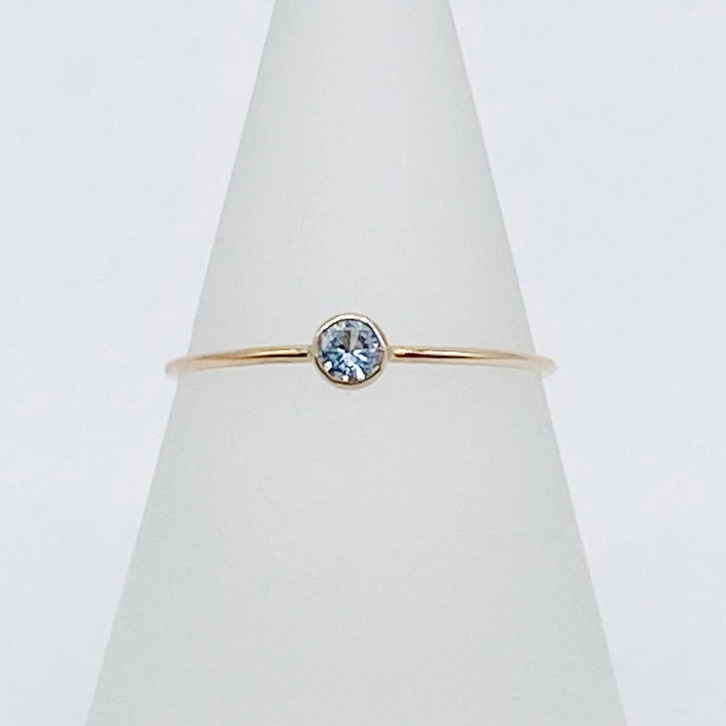 3mm Aquamarine Solitaire | 14kt Gold Filled Stackable March Birthstone Ring