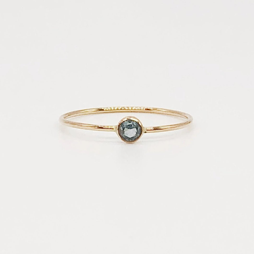 3mm Blue Zircon Solitaire | 14kt Gold Filled Stackable December Birthstone Ring