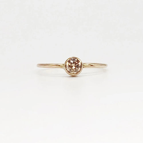 Classic Champagne Engagement Ring | 14kt Gold Filled 4mm Champagne CZ Gemstone