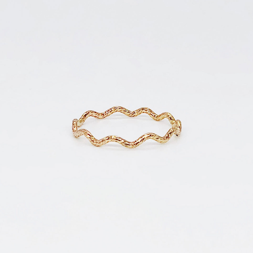Wave Ring | 14kt Gold Filled Textured Zig Zag Ring | Spacer Ring for 3mm Stackable Gemstone Rings