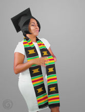 Load and play video in Gallery viewer, Kente Cloth Graduation Stole Black