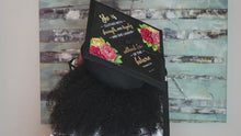 Load and play video in Gallery viewer, What She Tackles She Conquers Printable Graduation Cap Mortarboard Design