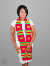 Load and play video in Gallery viewer, Kente Cloth Graduation Stole Red