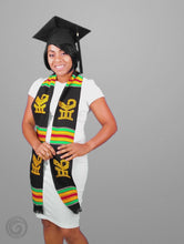 Load and play video in Gallery viewer, Sankofa Bird Black Kente Cloth Graduation Stole
