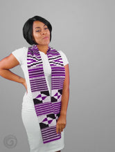 Load and play video in Gallery viewer, Traditional Double Weave Purple and White Kente Cloth Scarf Sash