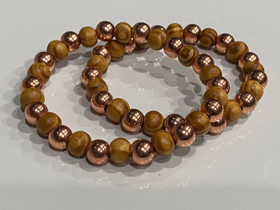Aromatherapy Healing Stone Bracelet - Copper and Olive Wood