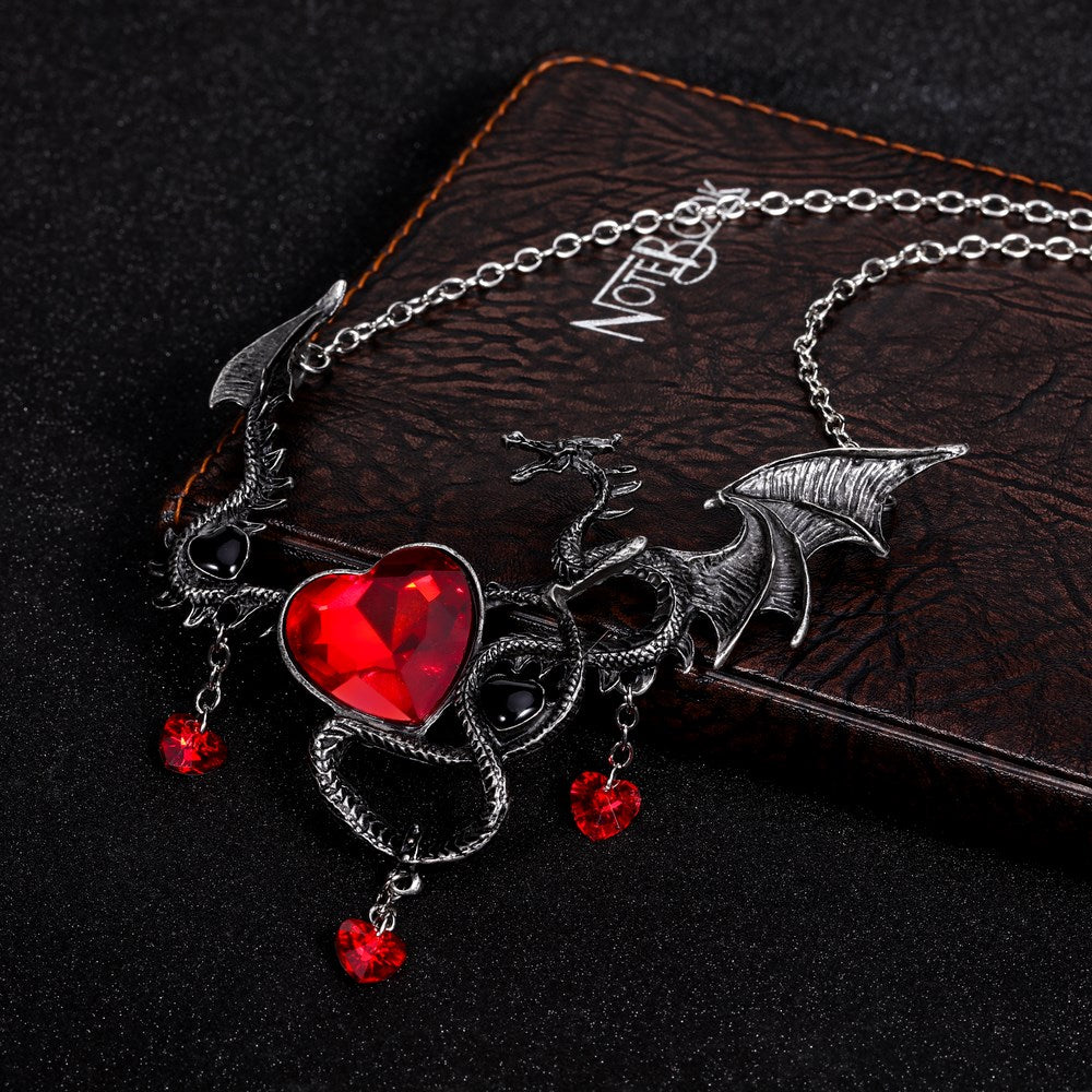 design market silver and necklace plated pendant il dragon etsy red
