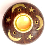 Incense & Cone Holders - round wood - gold star & moon
