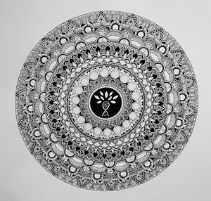 Hand Drawn Living LFS Mandala Original Art Piece